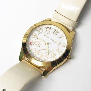Betsey Johnson Gold & White Patent Leather Watch